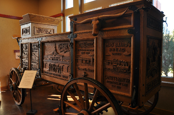 A hand-carved wagon at the National Cowgirl Museum and Hall of Fame