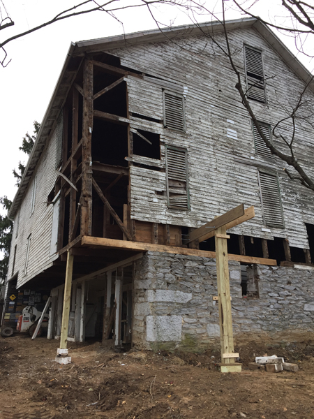 bank barn restoration progress