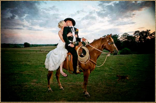 Hy Aback One Of The Seventy Four Horses On Expansive Ranch Grounds Their Wedding Day