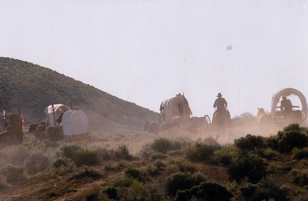 wagon train on the overland trail