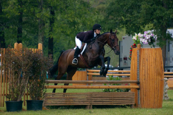 Rebecca Walton and her OTTB at a derby