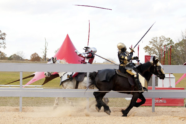 Jousters competiting on the History Channel show Full Metal Jousting