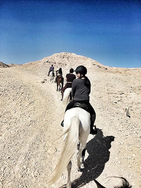 felicia quon on horseback in cairo egypt