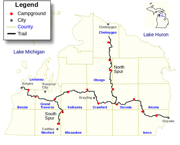 michigan shore to shore trail map