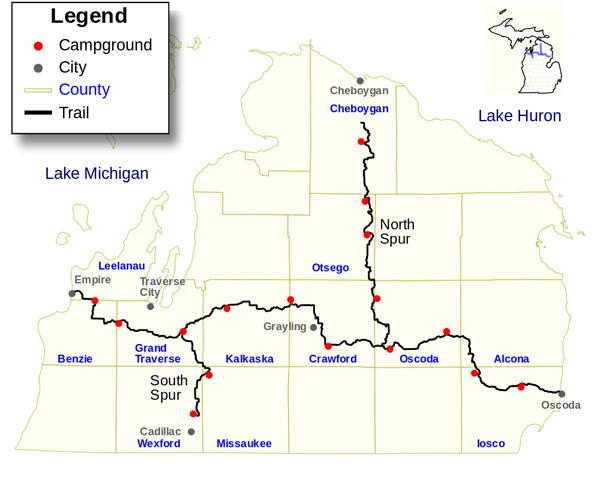 michigan shore to shore trail map