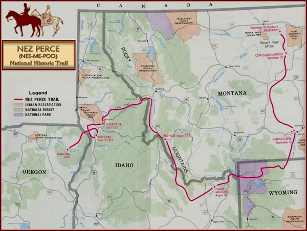 Nez Perce Historial Trail Map