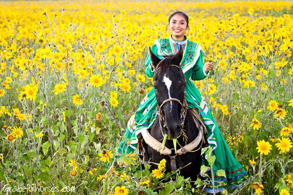 horseback riding sunflowers mexico
