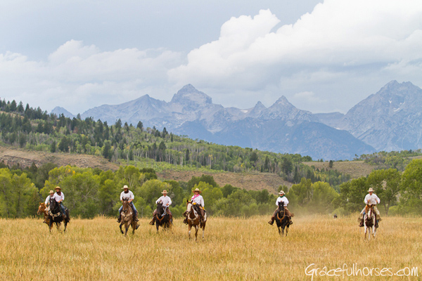 wranglers riding at gros ventre wyoming ranch