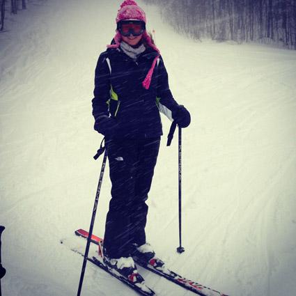 Alexis skiing