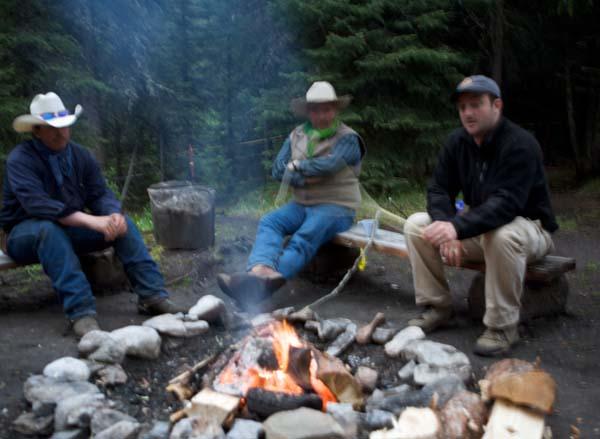 campfire in Banff