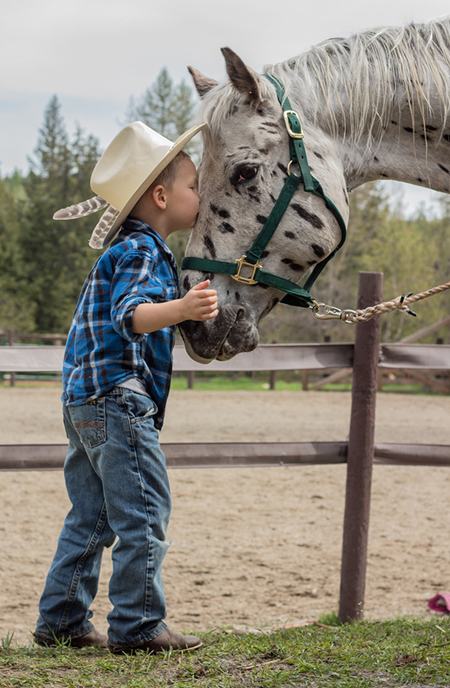 young boy and horse western pleasure guest ranch