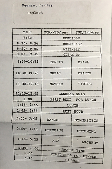 camp riding schedule