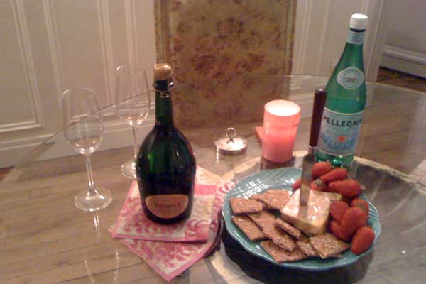 champagne and cheese
