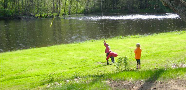 Children Playing by Shetucket River Connecticut