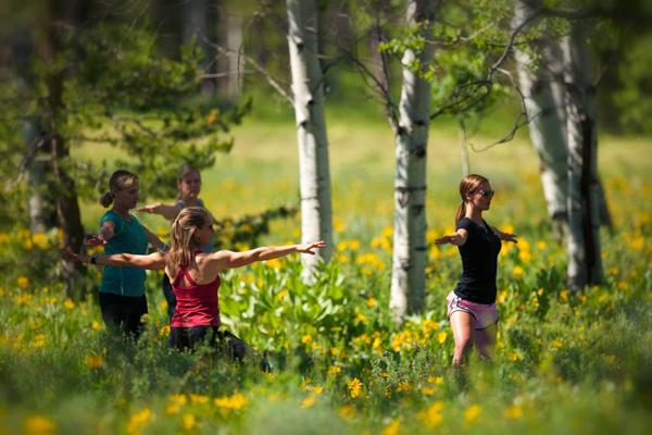 outdoor yoga at vista verde guest ranch