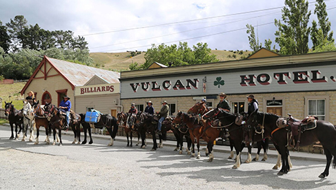 Outside the Vulcan Hotel St Bathans gold mining town Prospectors Dream Trail riding vacation