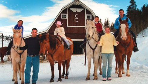 Winter trail rides are available at this Colorado dude ranch.