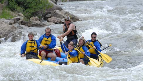 Whitewater rafting at Elk Mountian Ranch in Colorado.