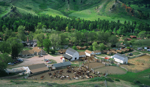 Eatons' Ranch, a Wyoming Dude Ranch, from above