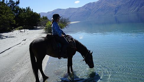 On the beach beside Lake Wanka on Twin Lakes Pack Trail Trekking New Zealand