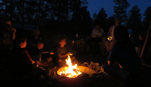 Campfire fun at Geronimo Trail Guest Ranch, New Mexico.