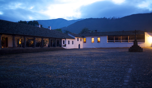 View of Hacienda Zuleta's main courtyard at sunset.