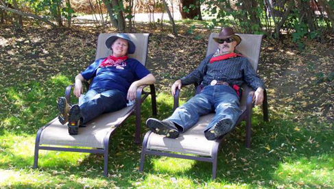 Napping on the big lawn at Rankin Ranch, a California dude ranch