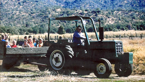 The haywagon pulls kids at Rankin Ranch, California Cattle Ranch & Guest Ranch