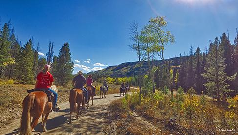 Horses riding trails at Rawah Dude Ranch Colorado