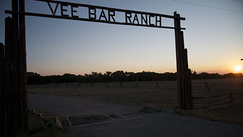 Vee Bar Guest Ranch Entrance at Sunset