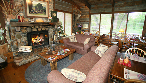 Wyoming guest ranch lodge with fireplace