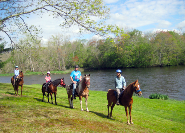 Horseback riding on Shetucket River in Connecticut