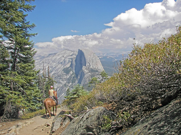 Pohono Trail after Sentinel Dome, one mile from Glacier Point yosemite horse riding