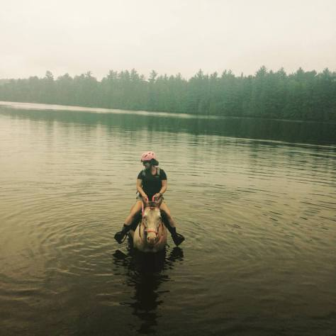 Swimming on horseback Ottawa River Ontario