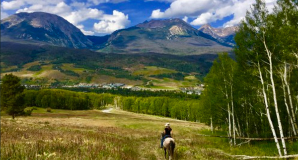Kate horseback riding in Keystone, Colorado