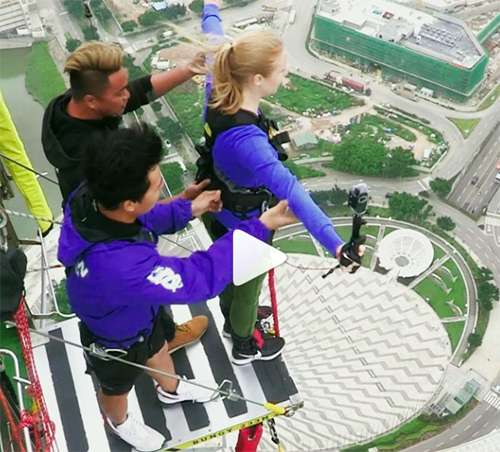 Taking on the world's highest commercial bungee at the Macao Tower.