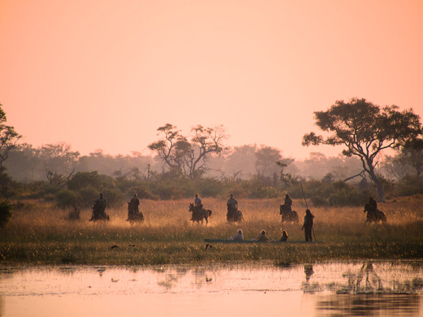 equestrians at sunset okavango delta horse safari
