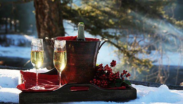 new years champagne bucket at rock creek cranch in montana