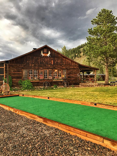 Bocce court guest ranch Rawah