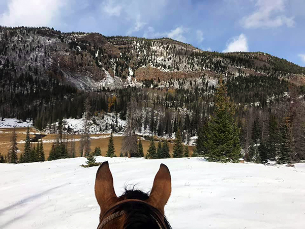 Riding in the snow at Rainbow Trout Ranch in Colorado