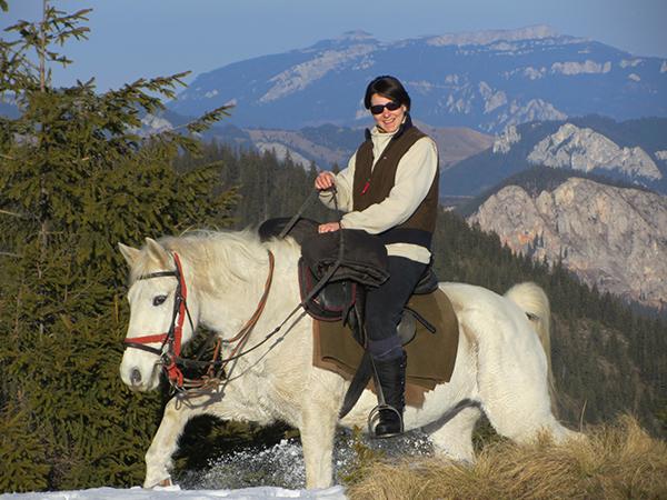 Romania horseback riding snow