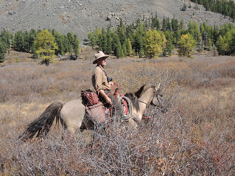 """Keith on """"Little Big Man"""" during a 14 day Khentii Wilderness Expedition"""