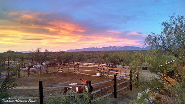 sunset at tombstone monument ranch arizona