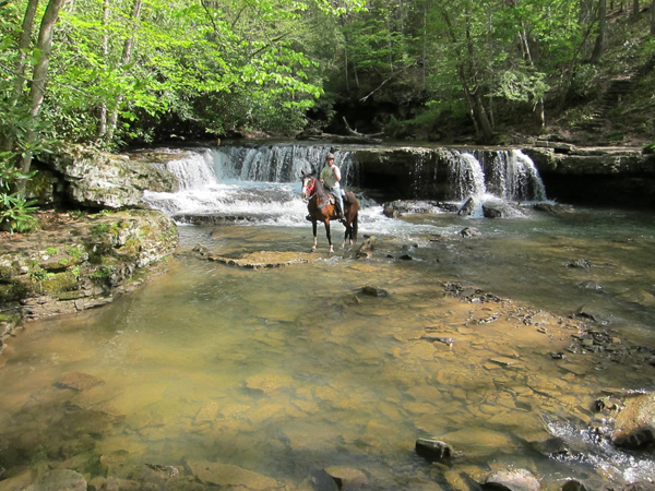 trail ride to a waterfall at camp creek state park and forest west virginia