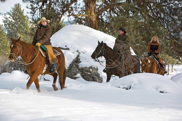winter horseback riding ranches resort at paws up
