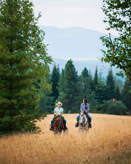 women horseback riding at western pleasure guest ranch