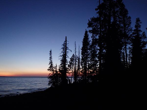yellowstone lake at sunset